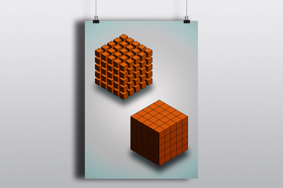 Isometric Cube Array - poster
